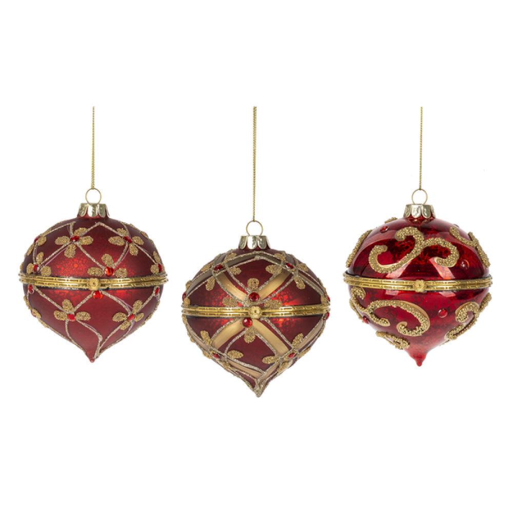 Ornament - Glass Hinged Red Box