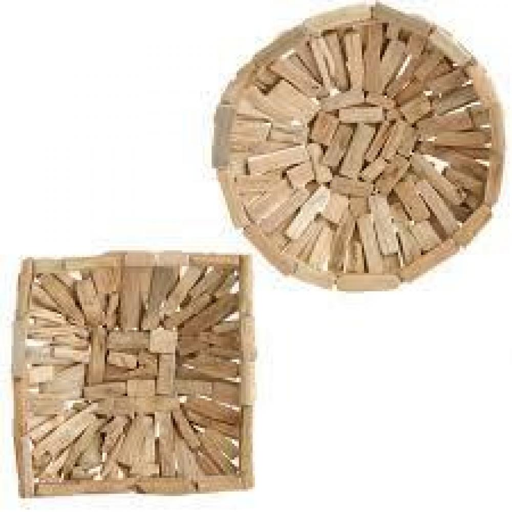 Tray - Wood Driftwood 16in Natural Round Square Asst