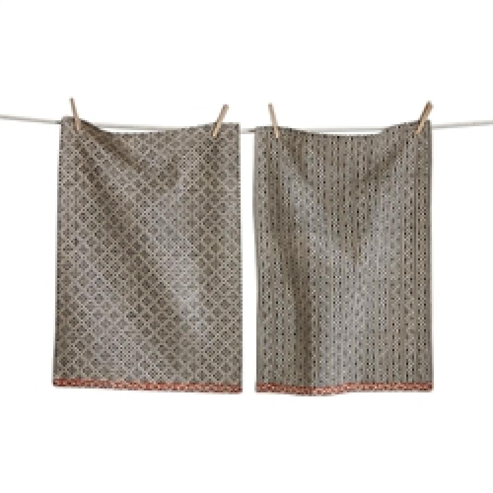 Dish Towel Black & Natural Tanzania Block Print