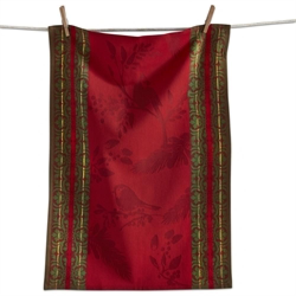Dish Towel Red Birdsong Jacquard