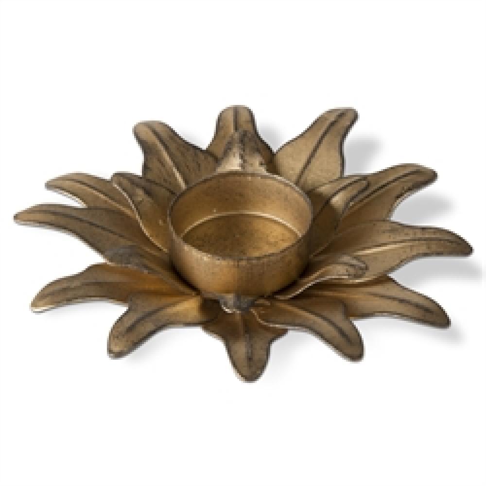 Seasonal Tealight Holder Antique Gold Flower Lg