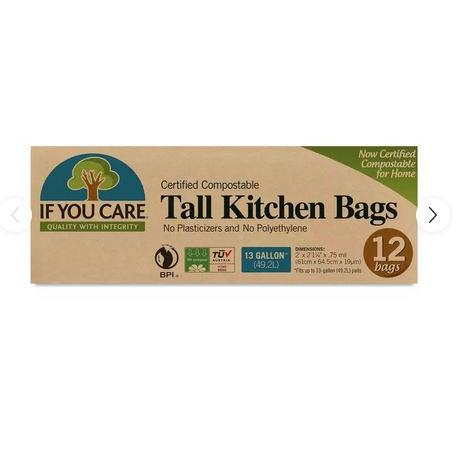 13 Gallon Certified Compostable Tall Kitchen Bags 12 Bags