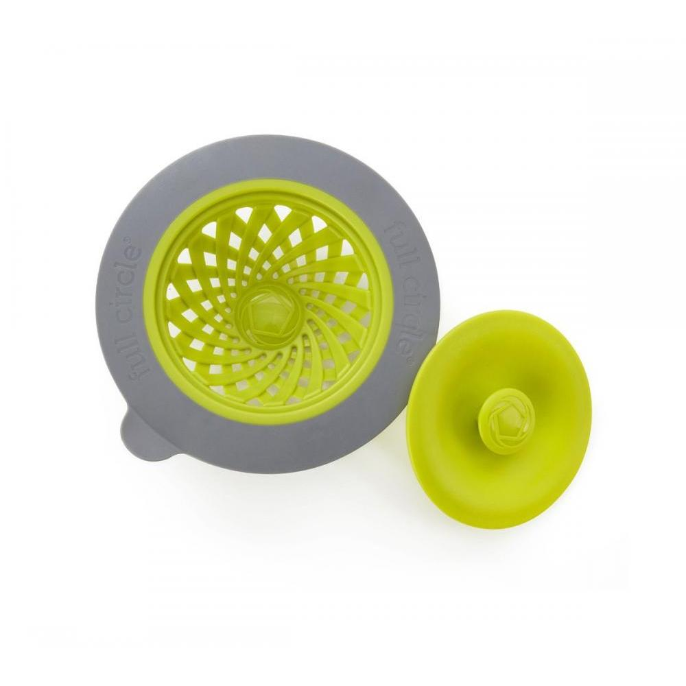 Sinksational Sink Strainer With Pop Out Stopper - Green And Slate
