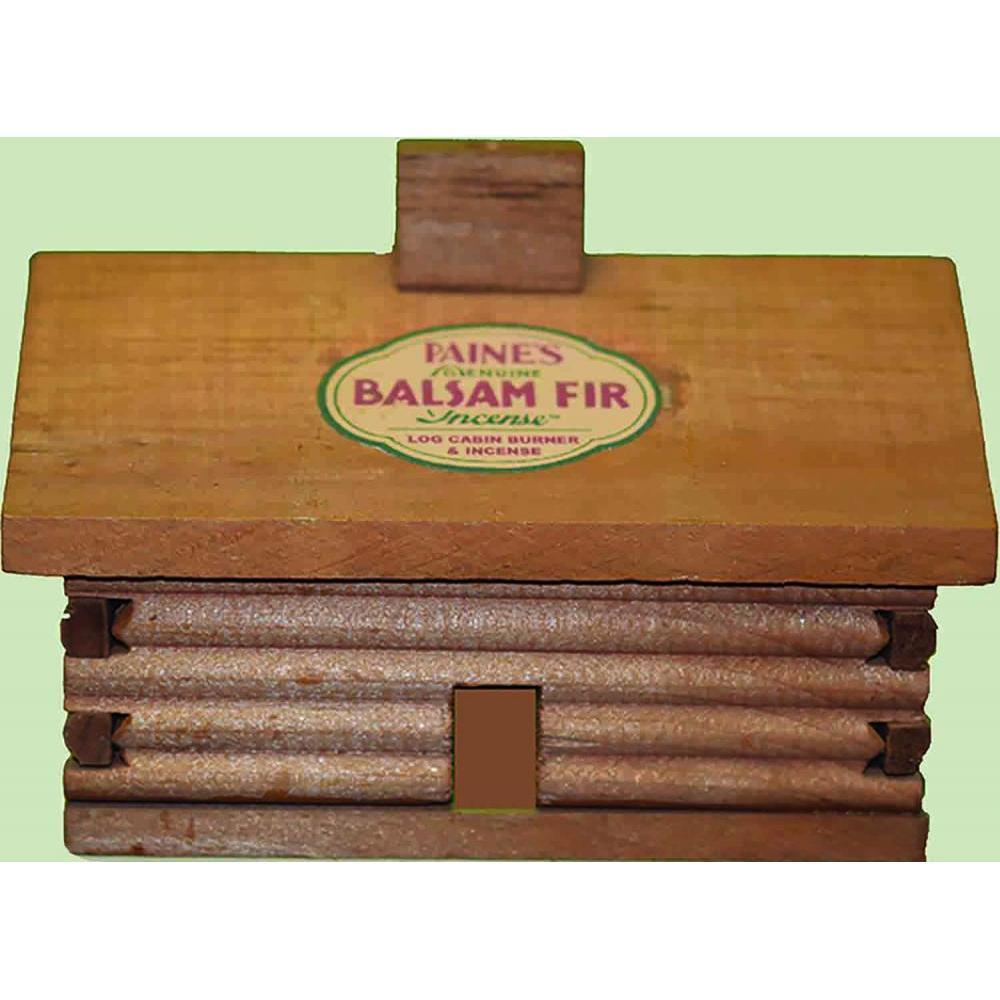 Incense Burner Log Cabin w/ 20 Balsam Sticks Large 5.5x4x4.25