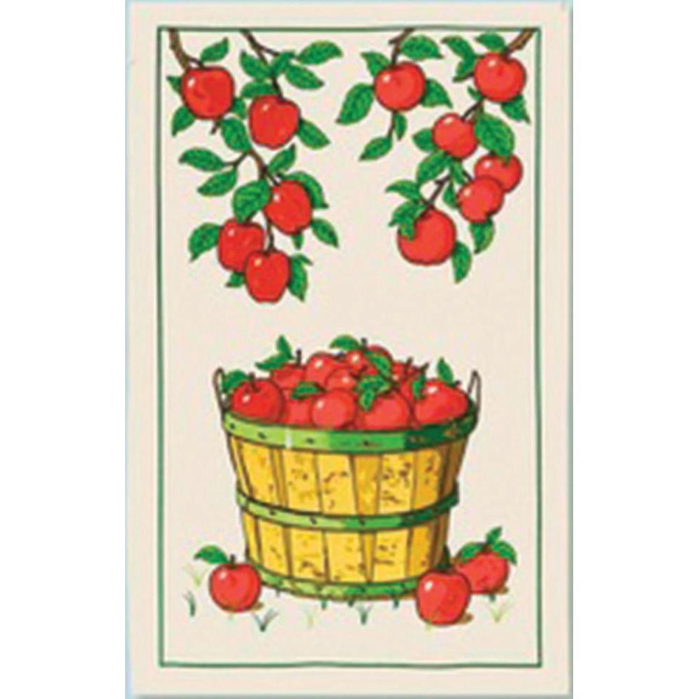 Kitchen Towel Cotton Handprinted 17 x 27in - Apples