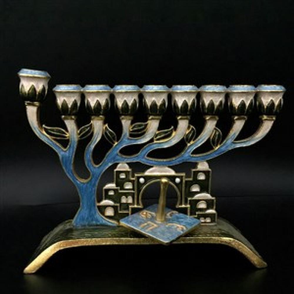 Menorah - Tree and Jerusalem Jeweled 7inch