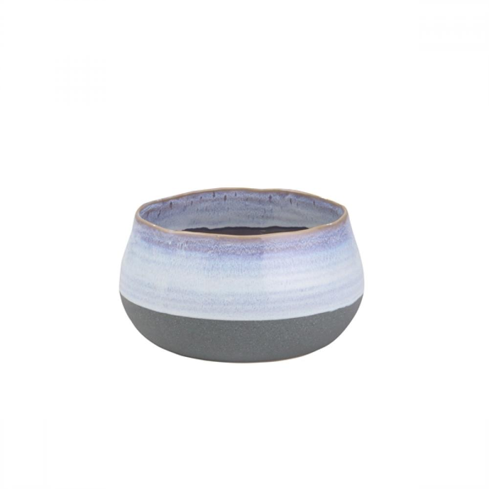 Ceramic Planter Blue Strip 7in