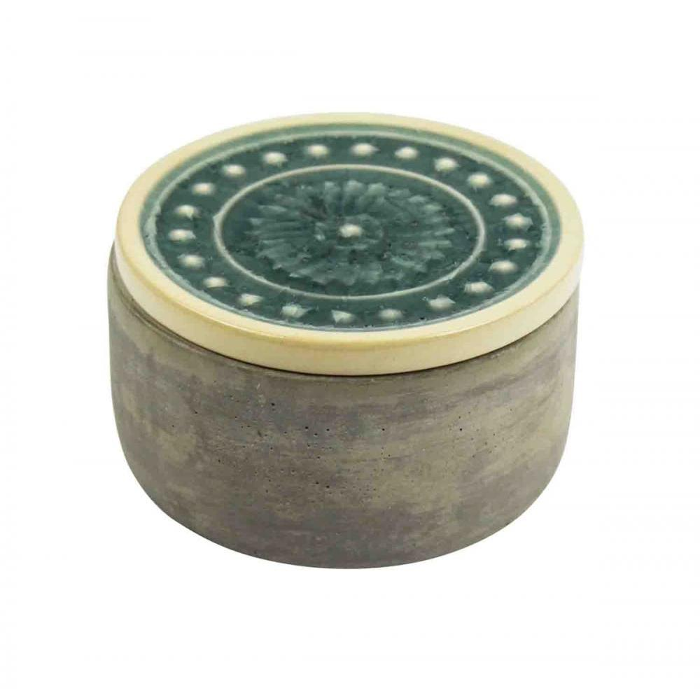 Decorative Box Teal Glazed Round Cement
