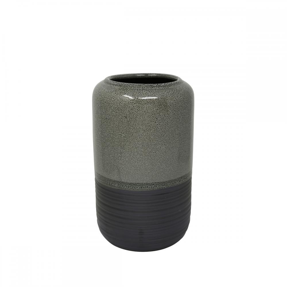 Vase Gray Ceramic 9.5in