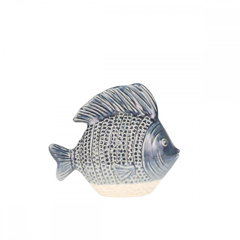 Fish Ceramic Blue and Ivory 9in