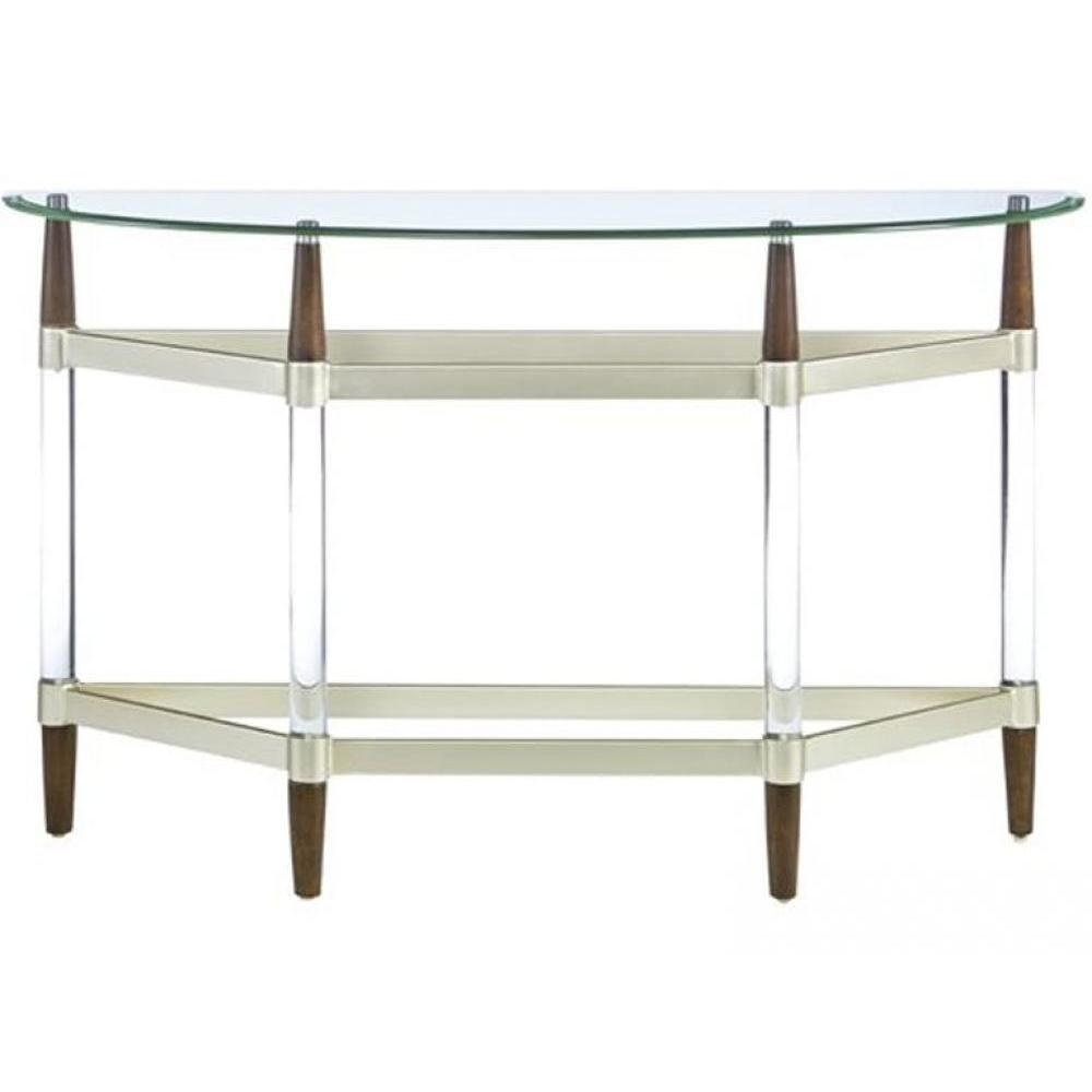 Michigan Ave Console Sofa Table Glass, Metal Licorice Wood Finish 48in x 16in x 30in High