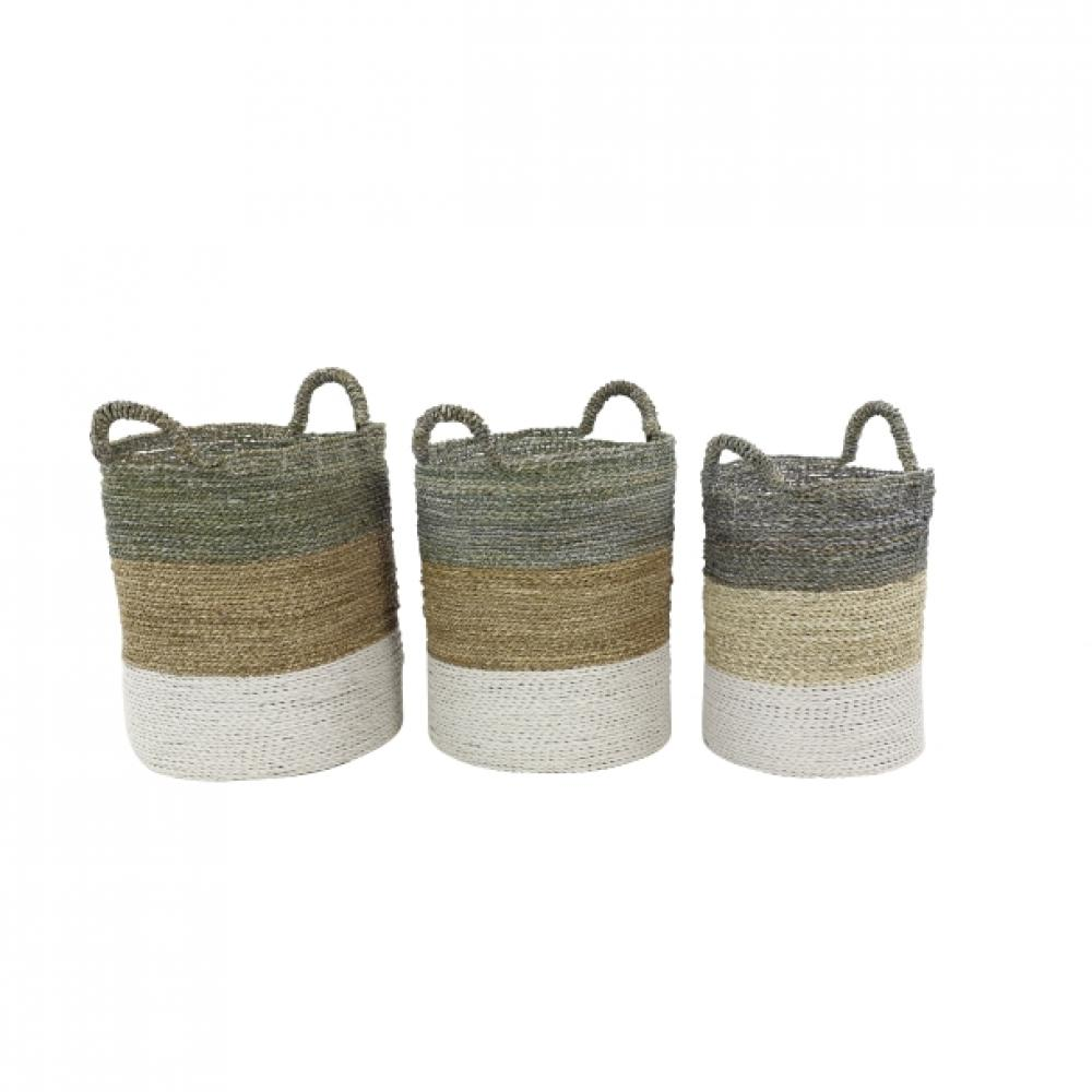 Basket Seagrass Stripe Lg-59.99 Md-44.99 Sm-34.99