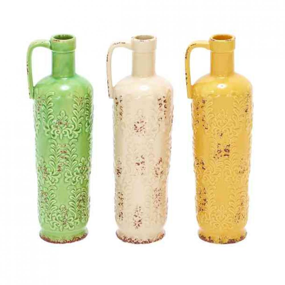 Vase Bottle Ceramic Assorted Colors ( Sold Separately )