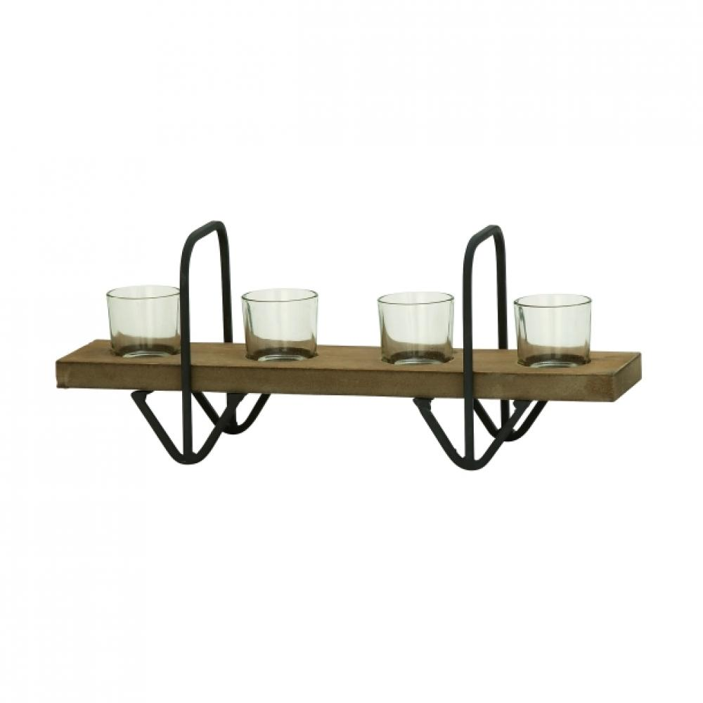 Candle Holder Wood and Metal 16w x 6h