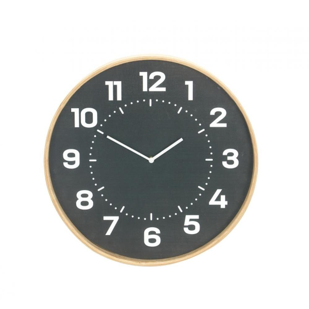 Wall Clock Wooden Black 20in Diameter
