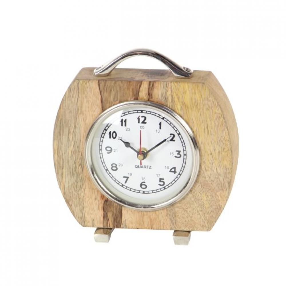 Clock Tabletop Wood and Metal 7w x 7h