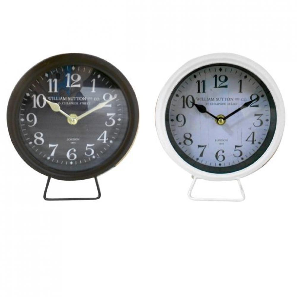 Clock Tabletop Metal White or Black 6w x 7h