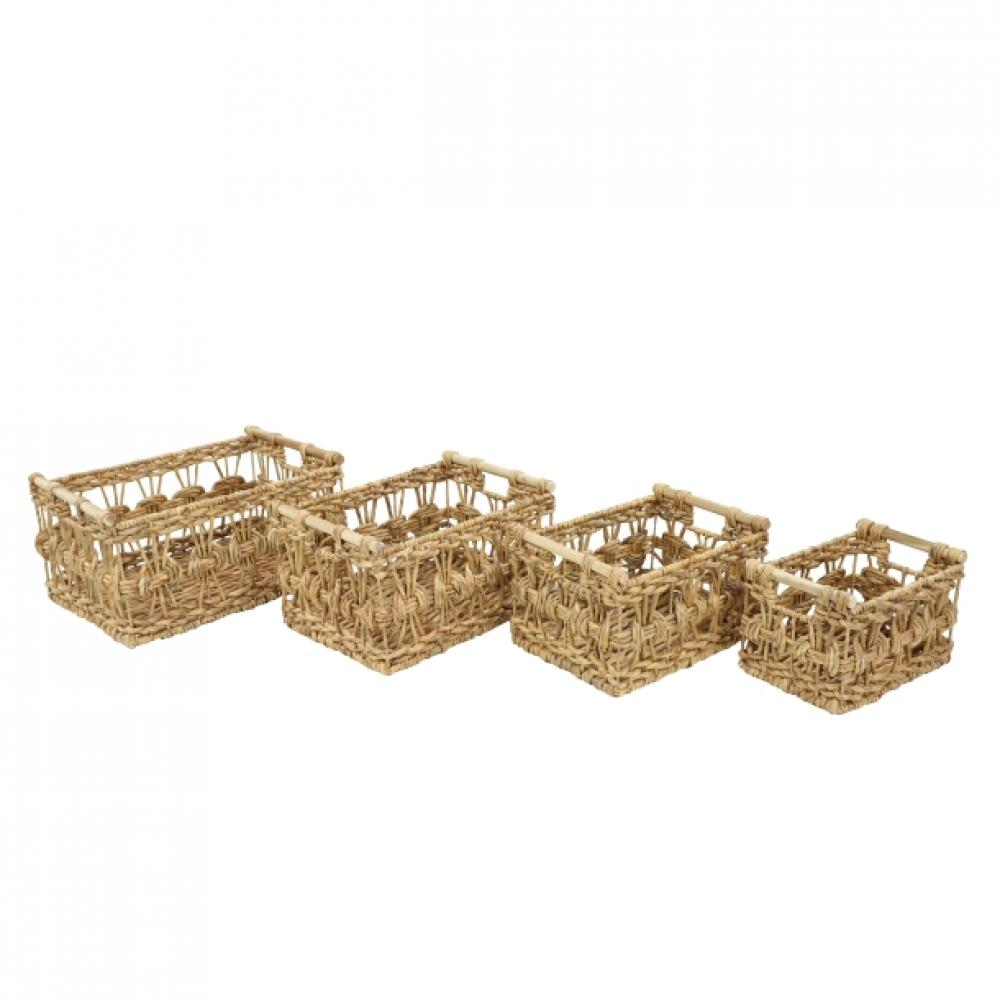 Basket Water Hyacinth and Metal 20in-24.99 17in-21.99 15in-16.99 13in-11.99