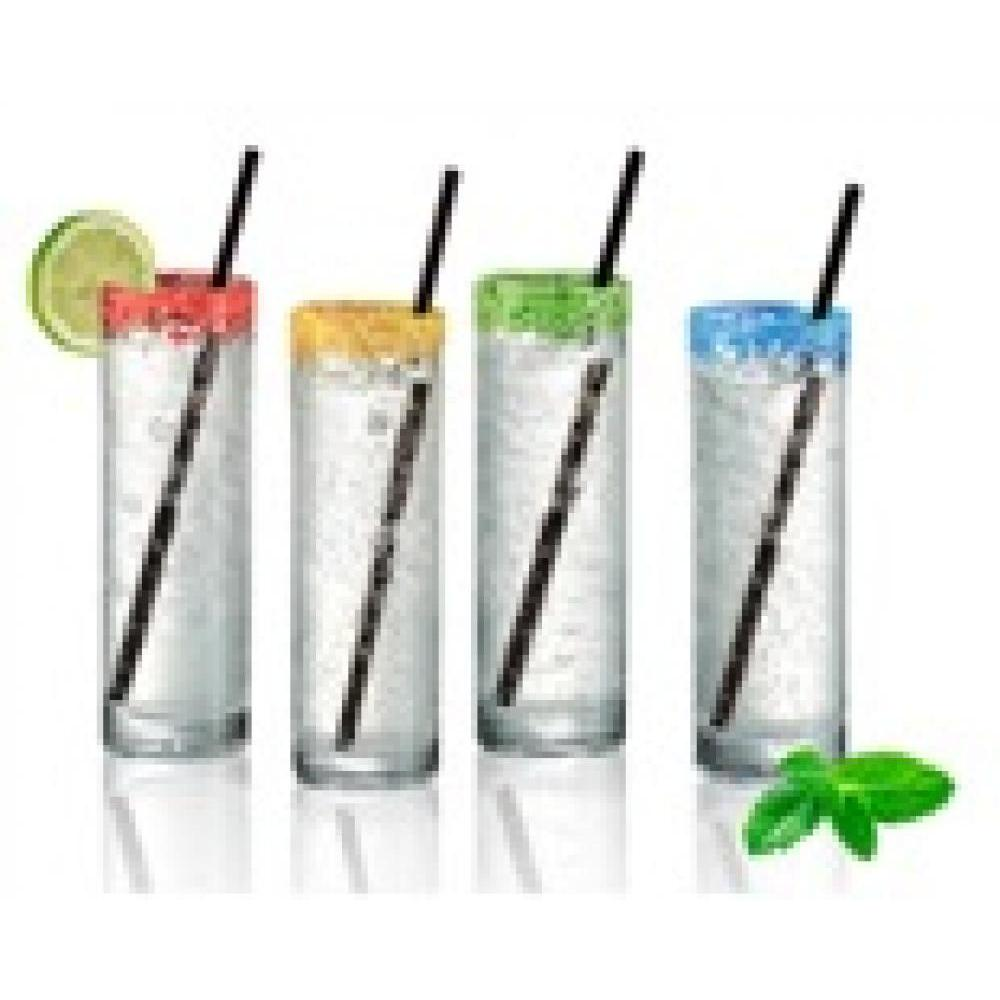 Coolers w/ reuseable straw assort colors (4)
