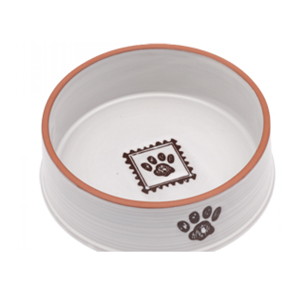 Food Bowl - Handcrafted White with Paw Print Small