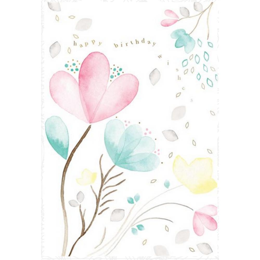 Birthday - Gray Pastel Floral