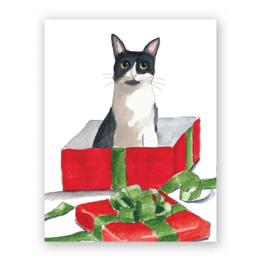Christmas Card - Cat in Christmas Box