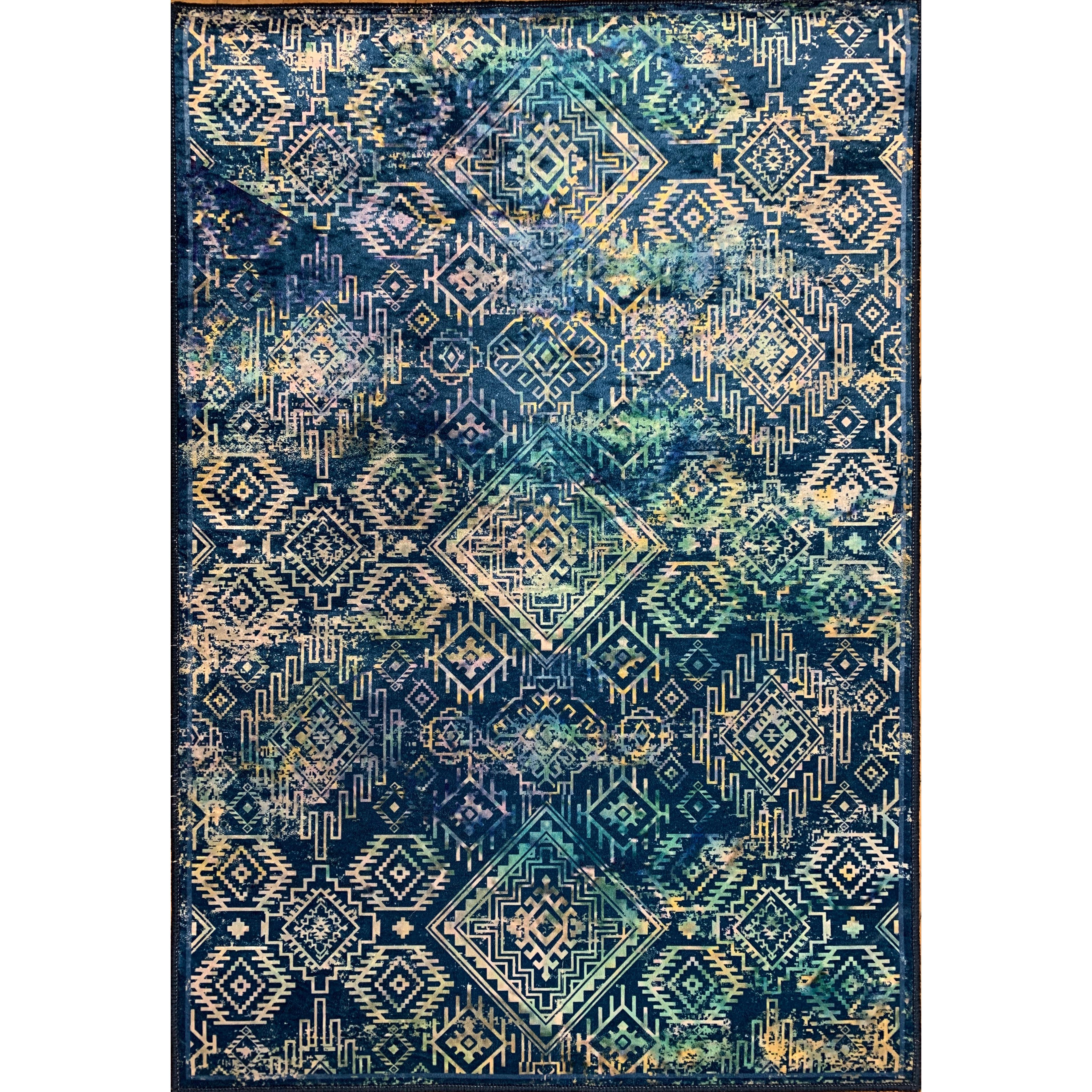 Emerald Collection Navy / Teal Rug 2ft2in x 3ft2in