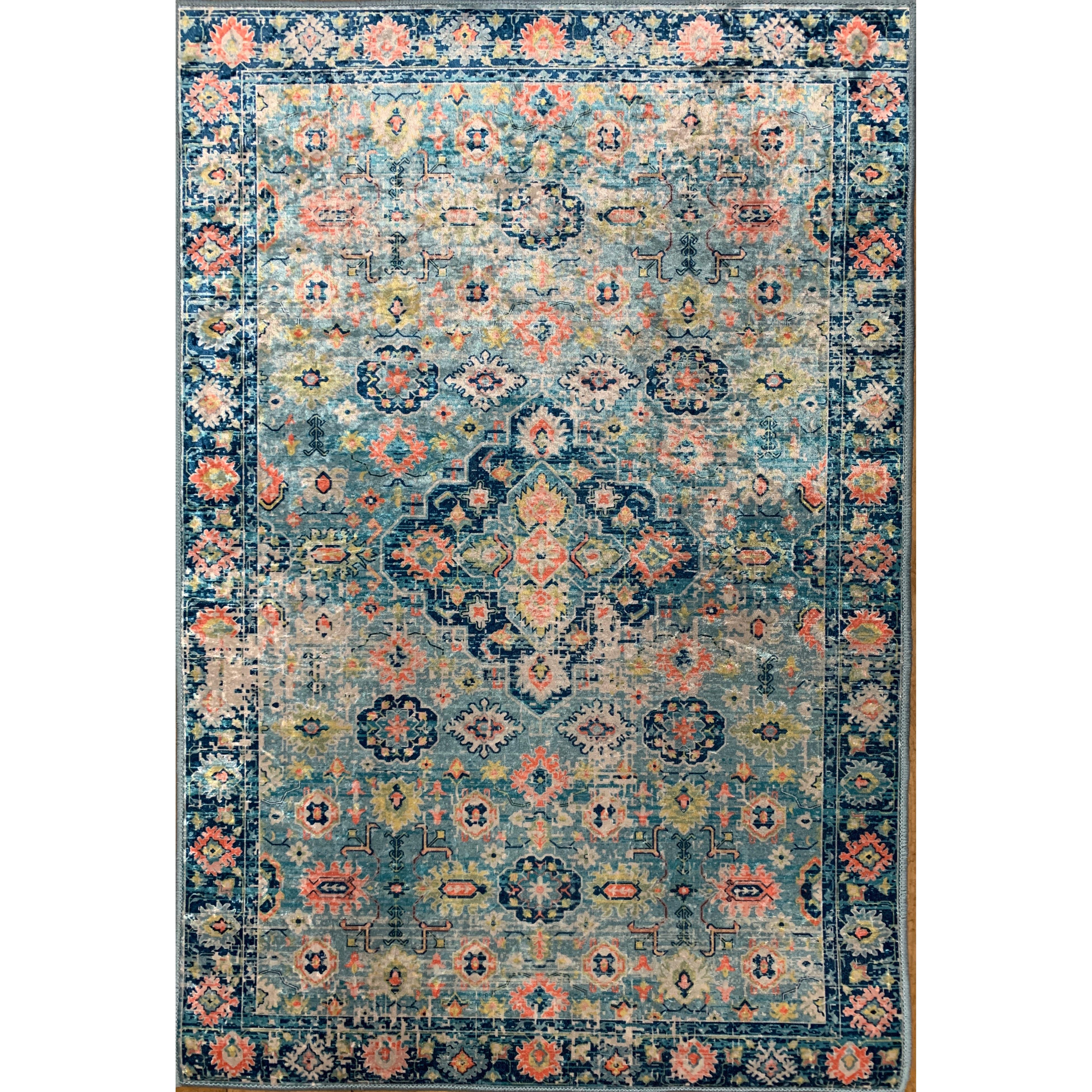 Emerald Collection Aqua / Navy  Rug 3ft3in x 5ft