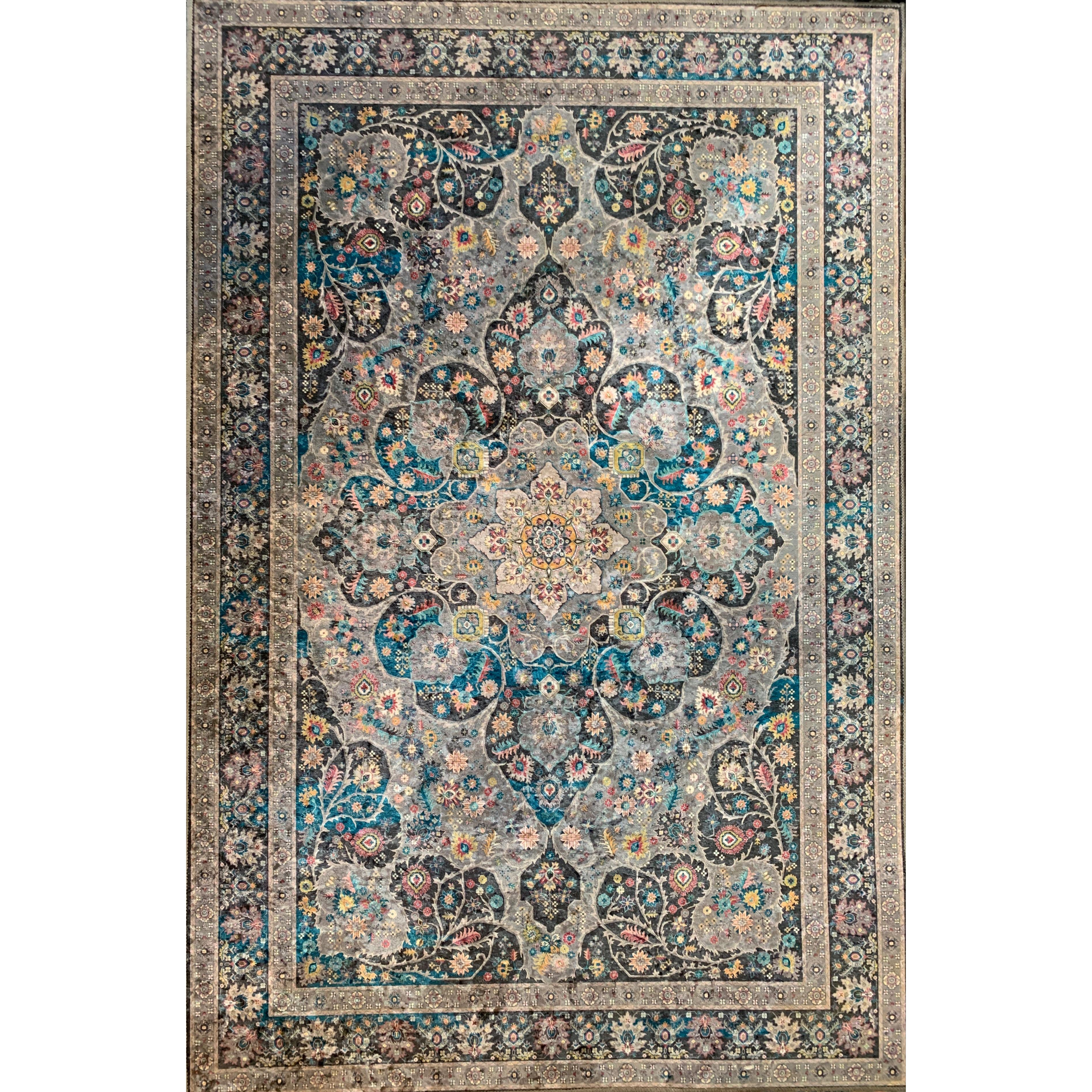 Emerald Collection Grey / Blue Rug 5ft x 7ft