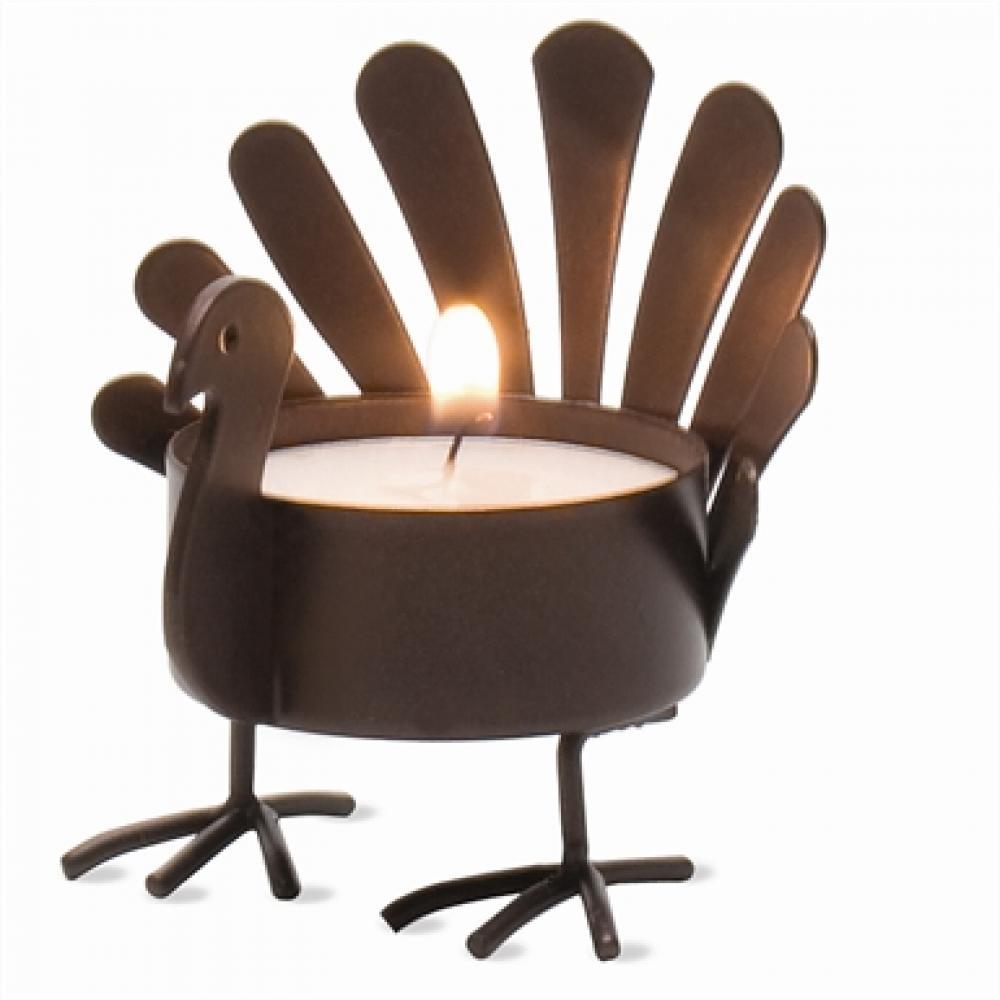 Seasonal Tealigt Holder Bronze Standing Turkey