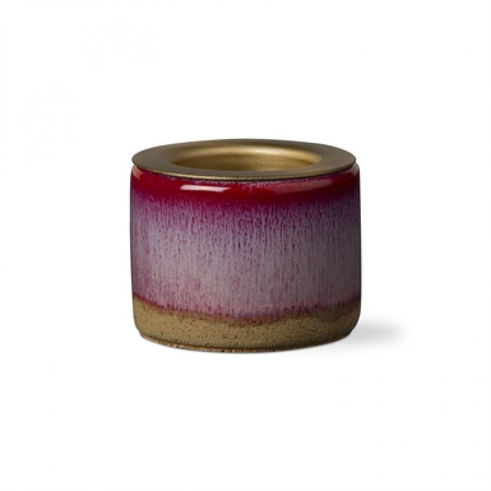 Seasonal Tealight Taper Holder Cayenne Red Glazed