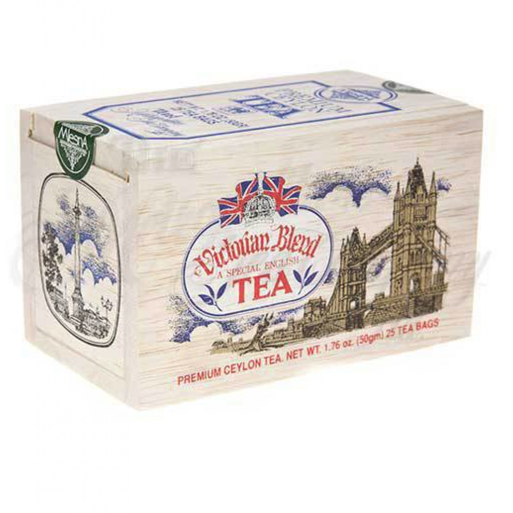 25 Tea Bags Wooden Box Victorian