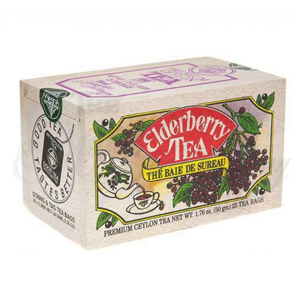 25 Tea Bags Wooden Box Elderberry