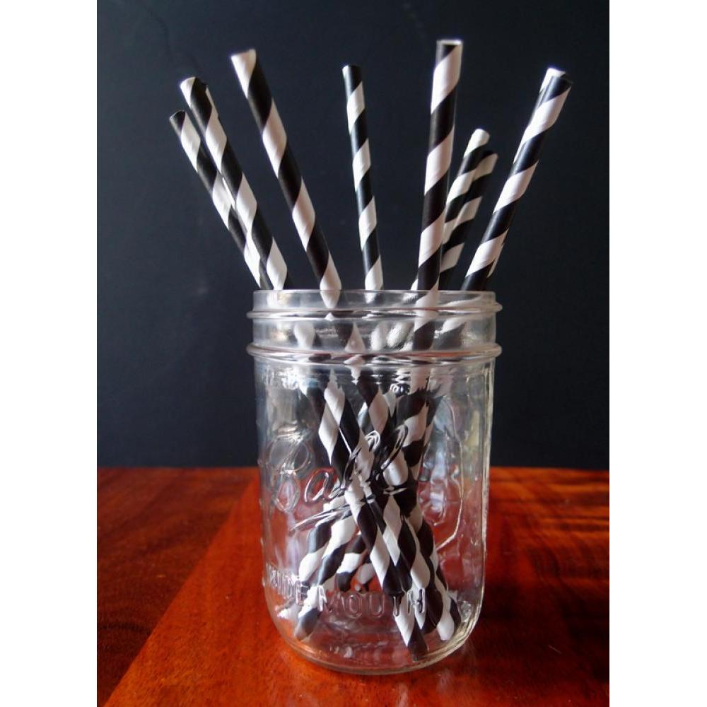 Drinking Straw Paper Stripes Black