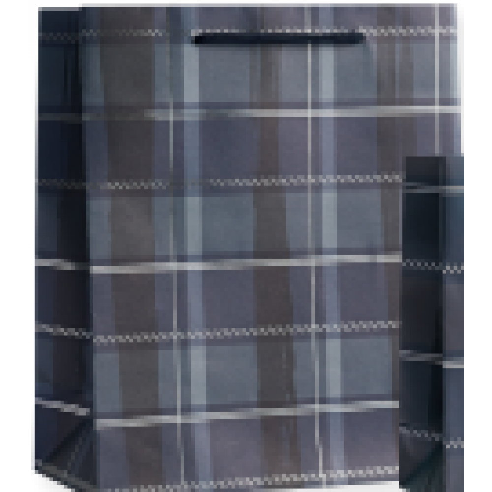Gift Bag - Medium - Navy Plaid Silver Foil