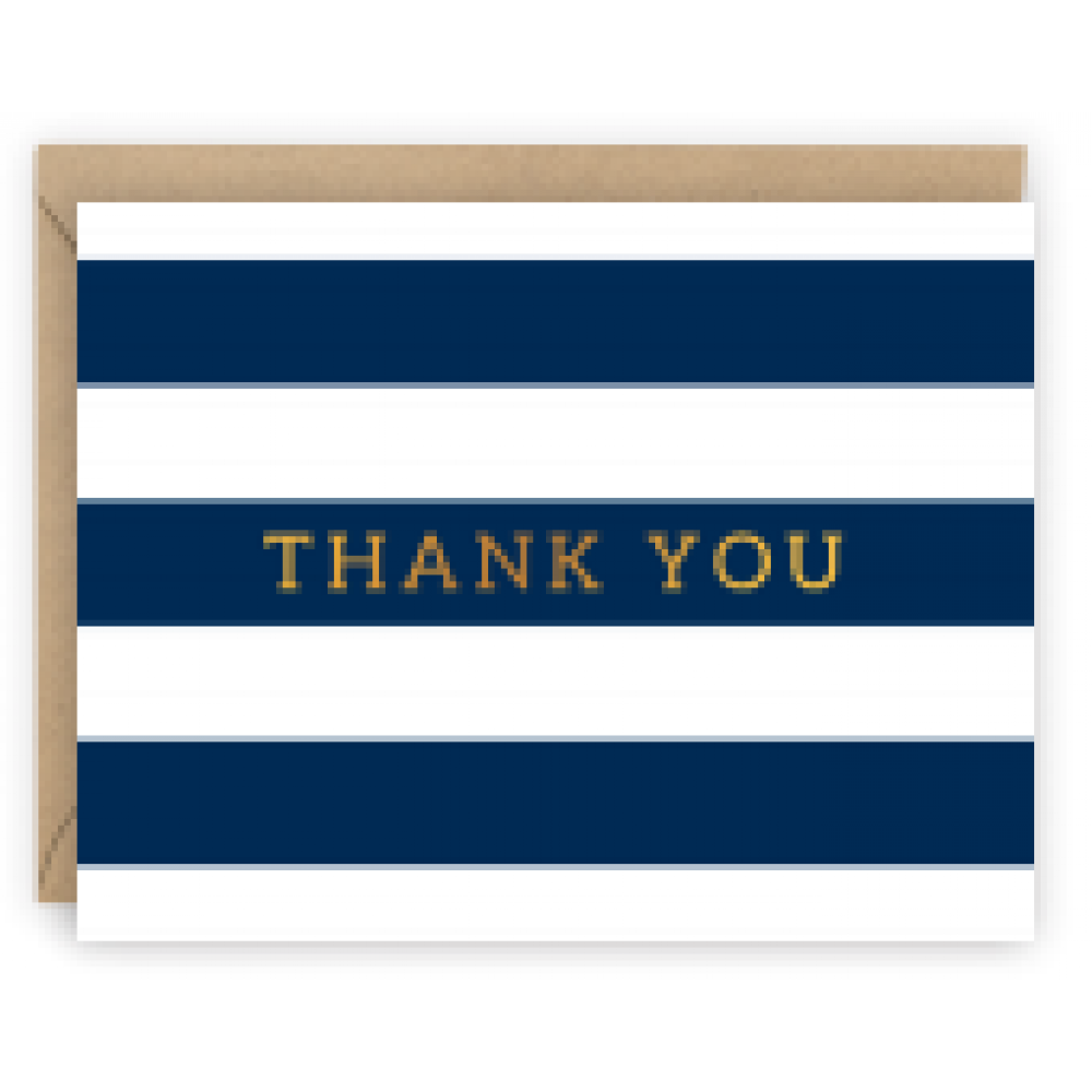 Thank You - Navy Striped