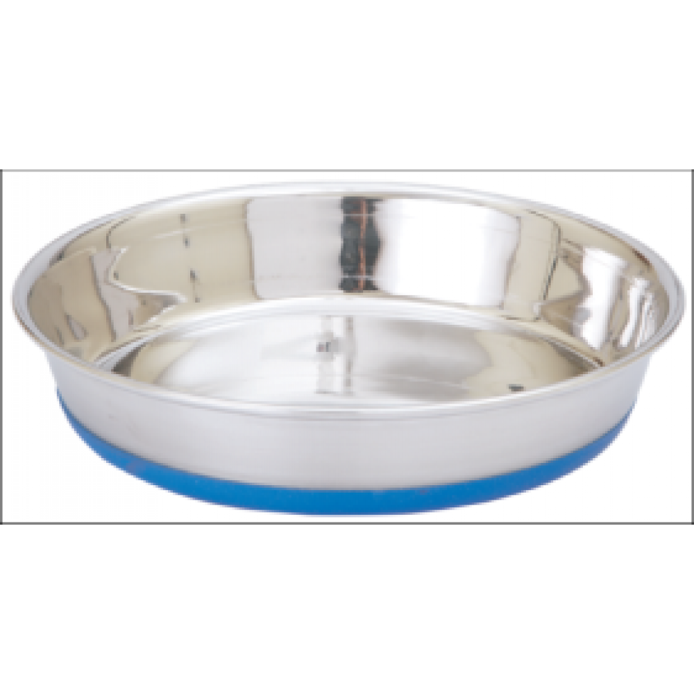Food Bowl Silver with Rubber Base