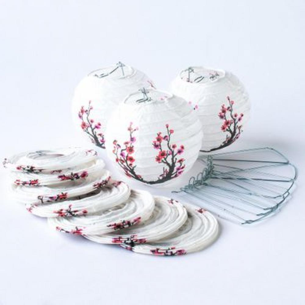Lanterns Paper for String Lights 4in Round Set of 10 Cherry Blossom