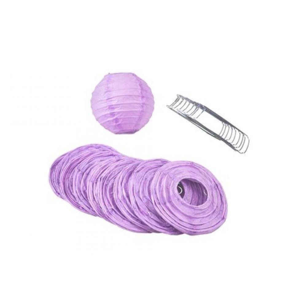 Lanterns Paper for String Lights 4in Round Set of 10 Lavender