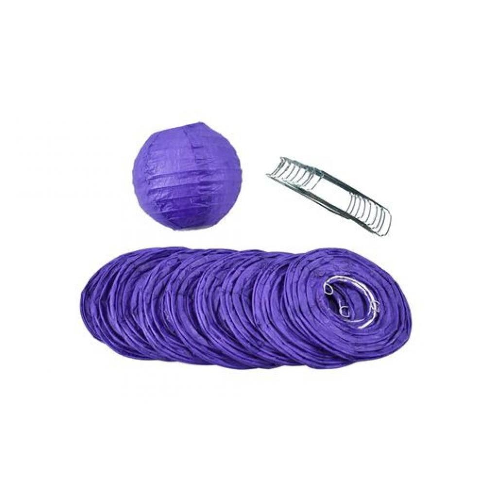 Lanterns Paper for String Lights 4in Round Set of 10 Purple