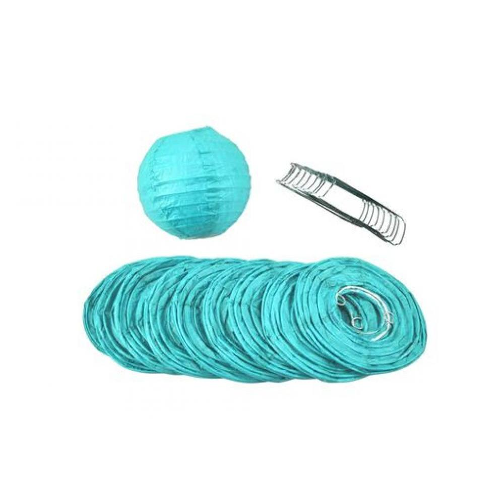 Lanterns Paper for String Lights 4in Round Set of 10 Water Blue