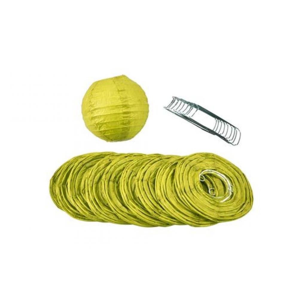 Lanterns Paper for String Lights 4in Round Set of 10 Chartreuse