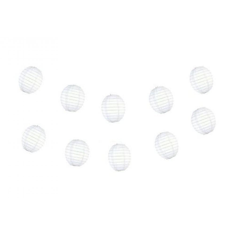 Lanterns Paper for String Lights 4in Kawaii Set of 10 White
