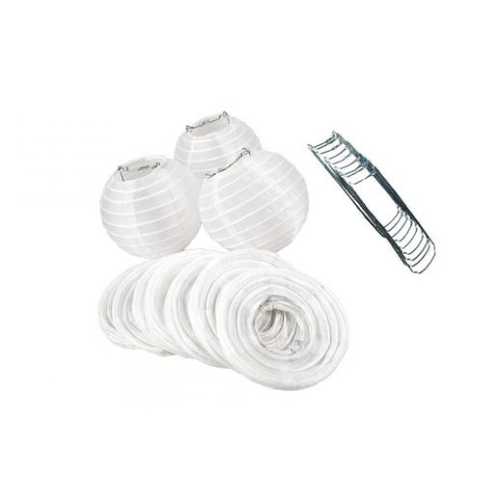 Lanterns Nylon for String Lights 4in Round Set of 10 White