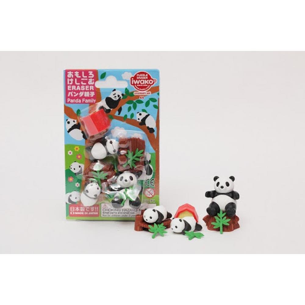 Carded Eraser Set Panda Family