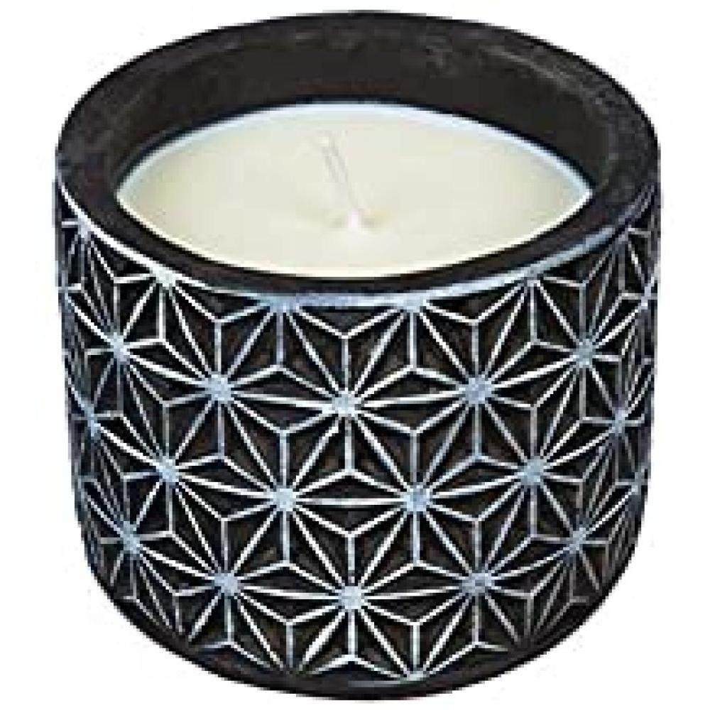 Citronella Candle 13 oz Black and White Starburst 4.25in Diameter