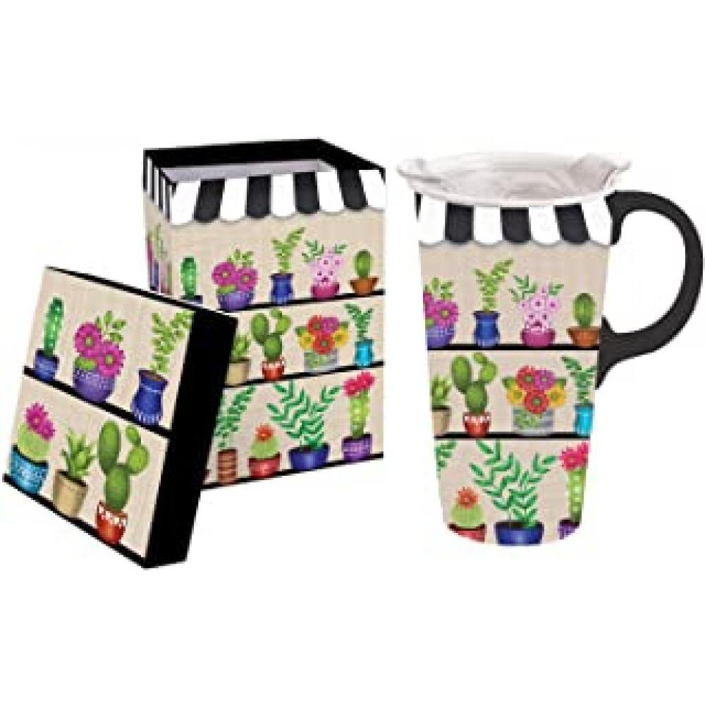 Travel Cup Ceramic 17oz Shelves of Floral with Box and Lid