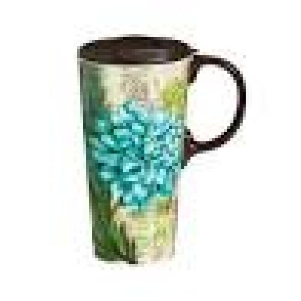 Drinkware - Ceramic Cup 17oz, Turquoise Dahlia