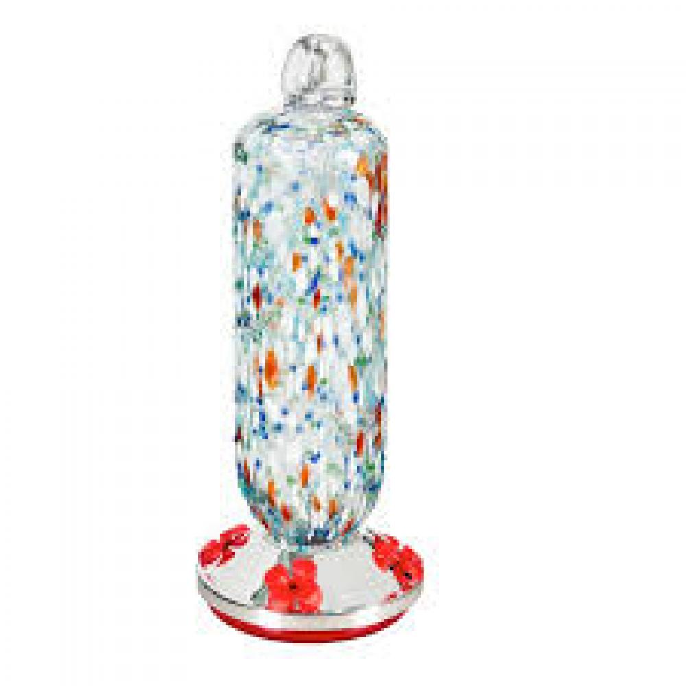 Garden Hummingbird Feeder Red/White/Blue Pebble Glass