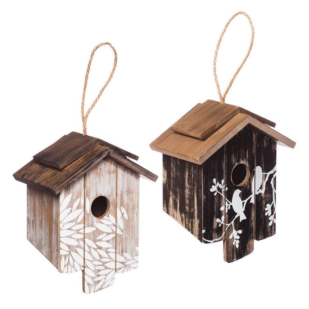 Garden Wooden Bird House 2 Asst Toasted and Distressed White
